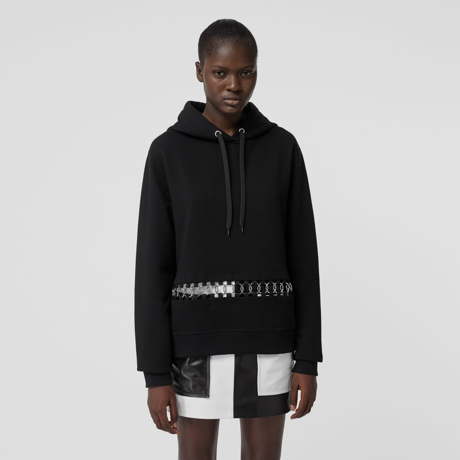Ring-pierced Cotton Oversized Hoodie in Black - Women | Burberry Australia - gallery image 5