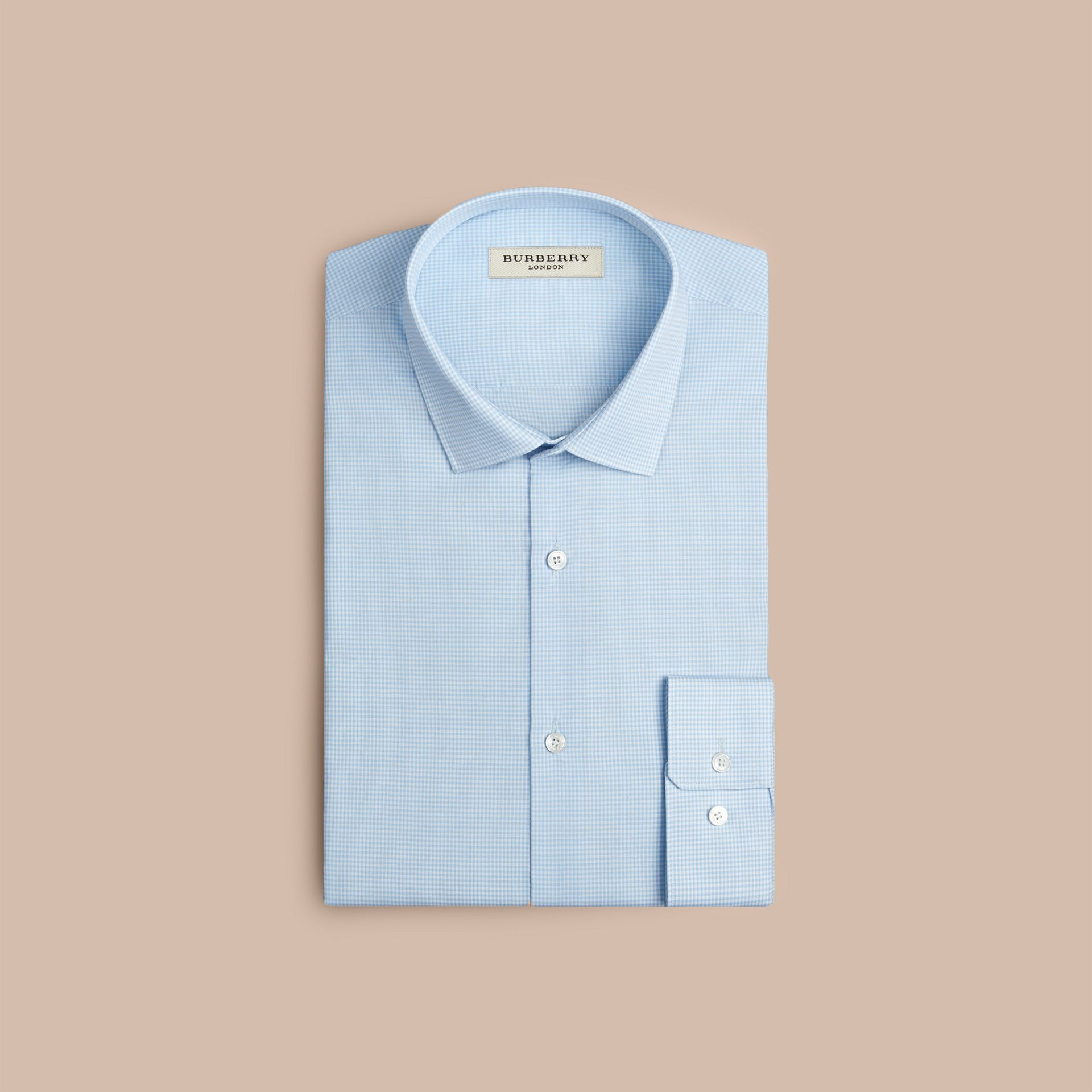 Modern Fit Gingham Cotton Poplin Shirt in City Blue - Men | Burberry - gallery image 4
