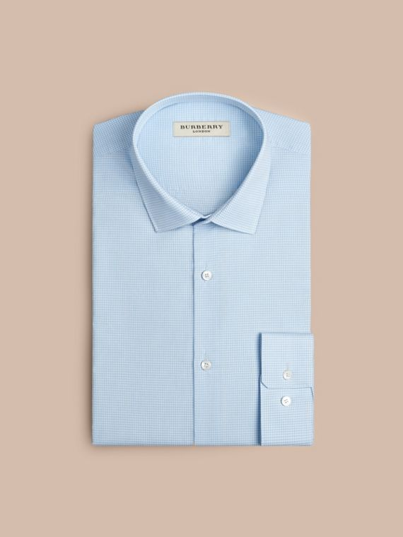 Modern Fit Gingham Cotton Poplin Shirt in City Blue - Men | Burberry - cell image 3