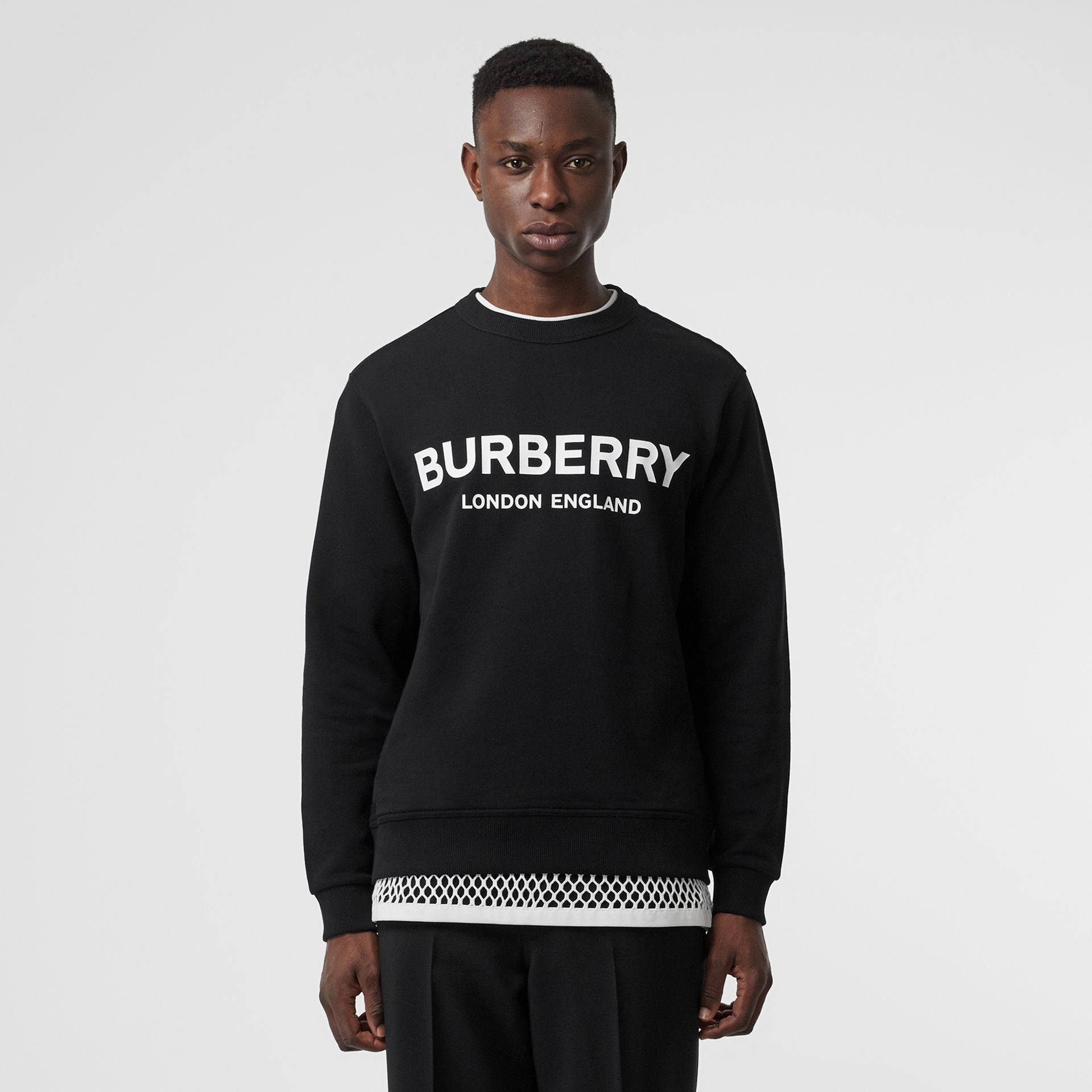Logo Print Cotton Sweatshirt in Black - Men | Burberry Australia - gallery image 3