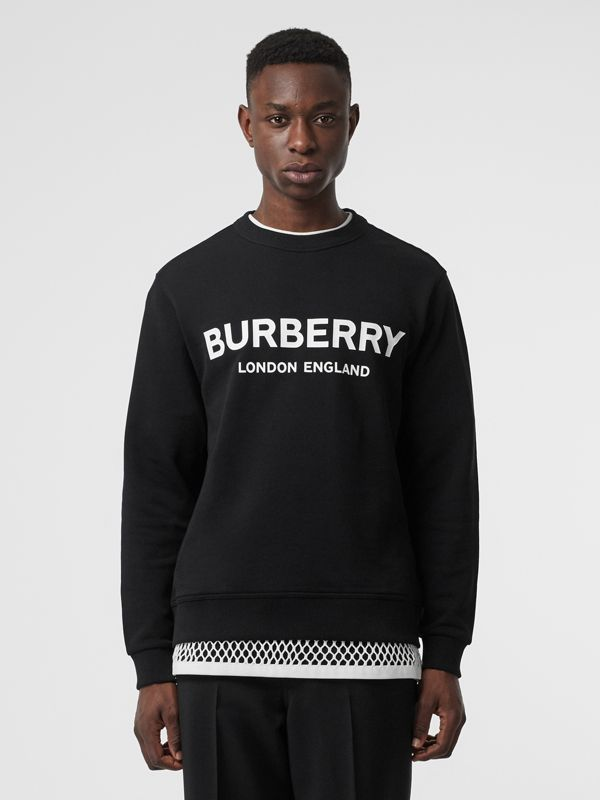 Logo Print Cotton Sweatshirt in Black - Men | Burberry Australia - cell image 3