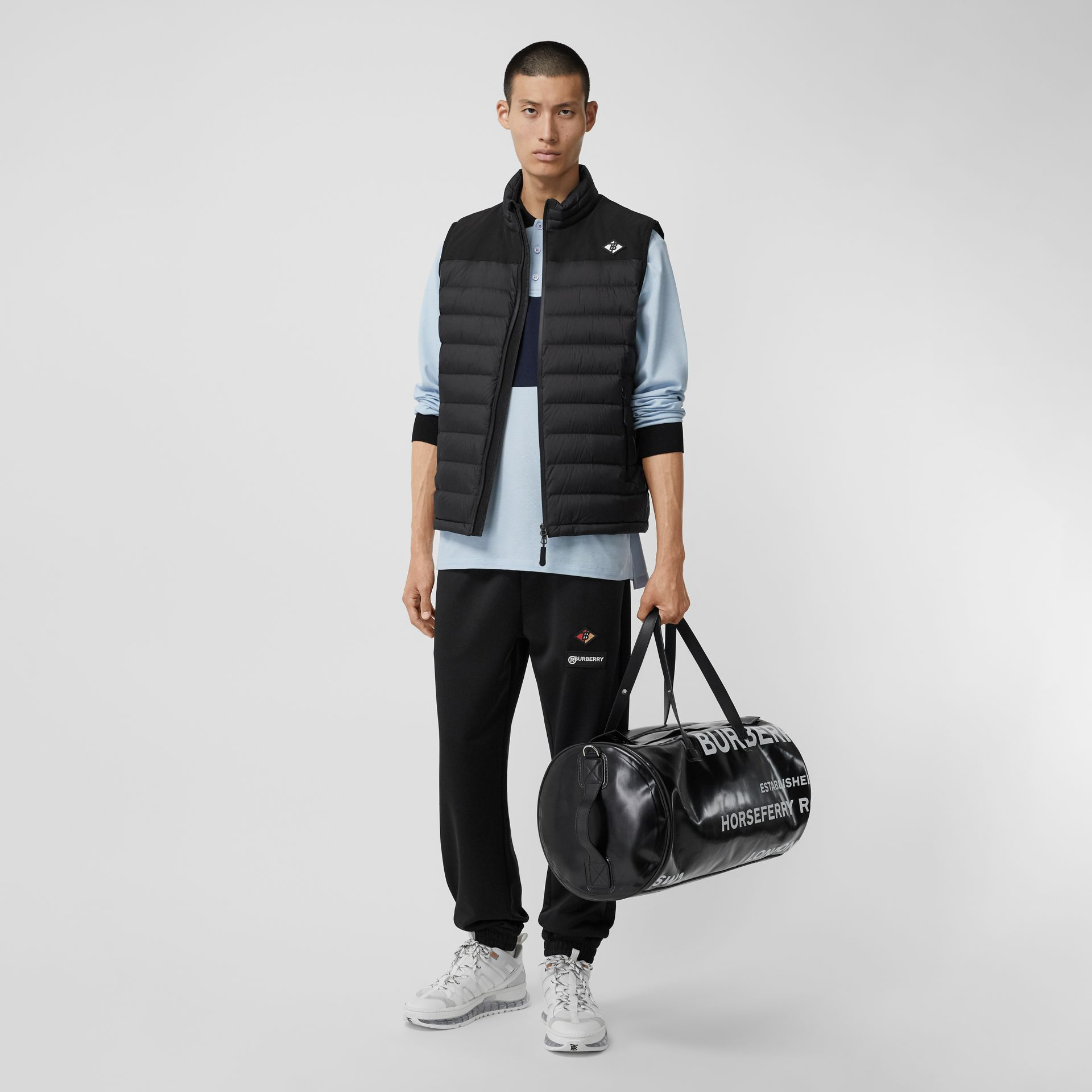 Logo Graphic Puffer Gilet in Black - Men | Burberry Canada - gallery image 0