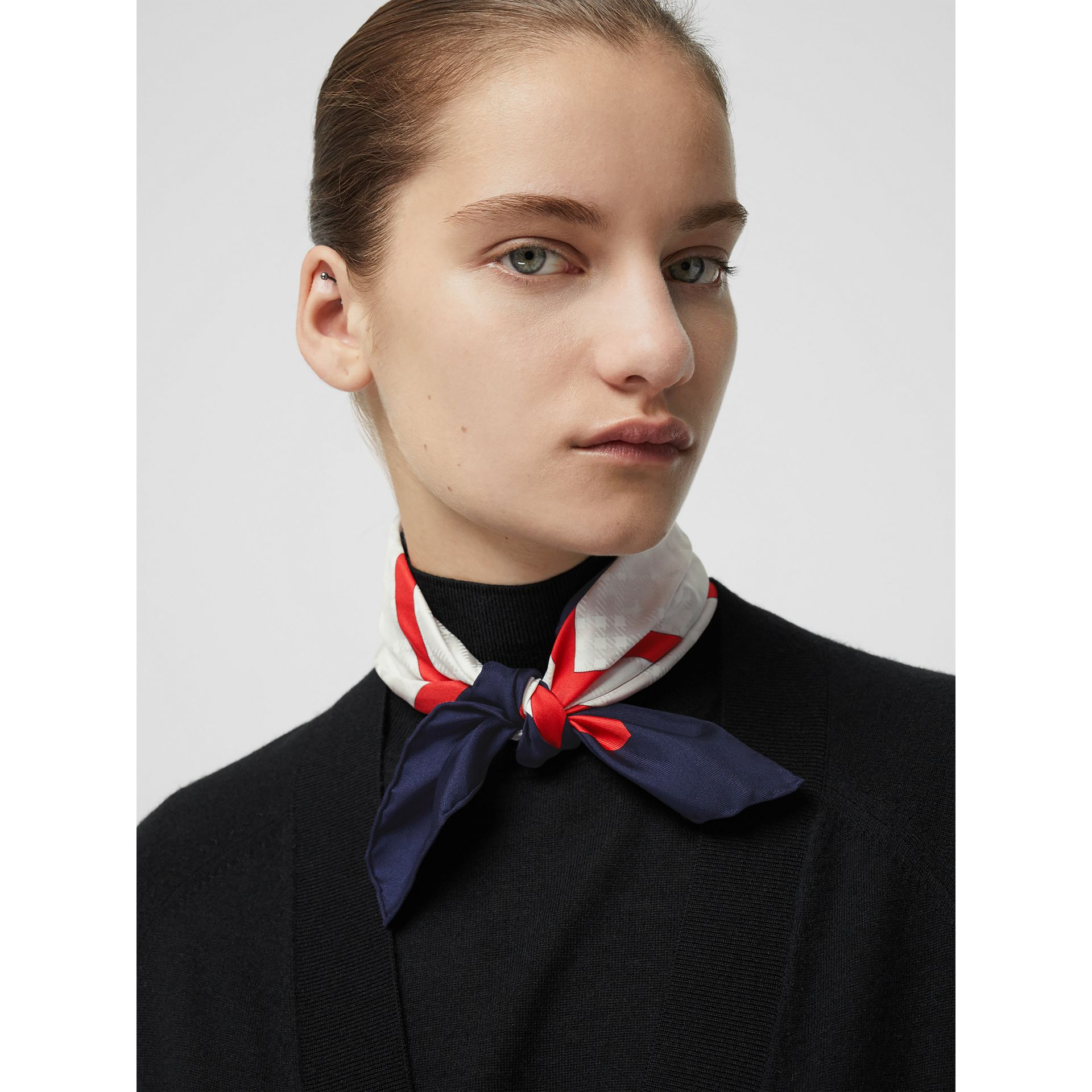 Reissued Archive Society Print Silk Small Square Scarf in Navy | Burberry United Kingdom - gallery image 2