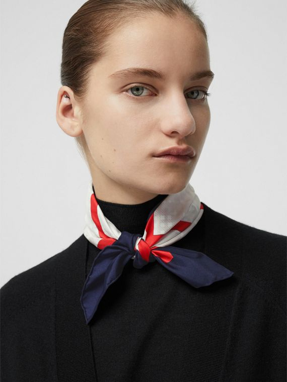 Reissued Archive Society Print Silk Small Square Scarf in Navy