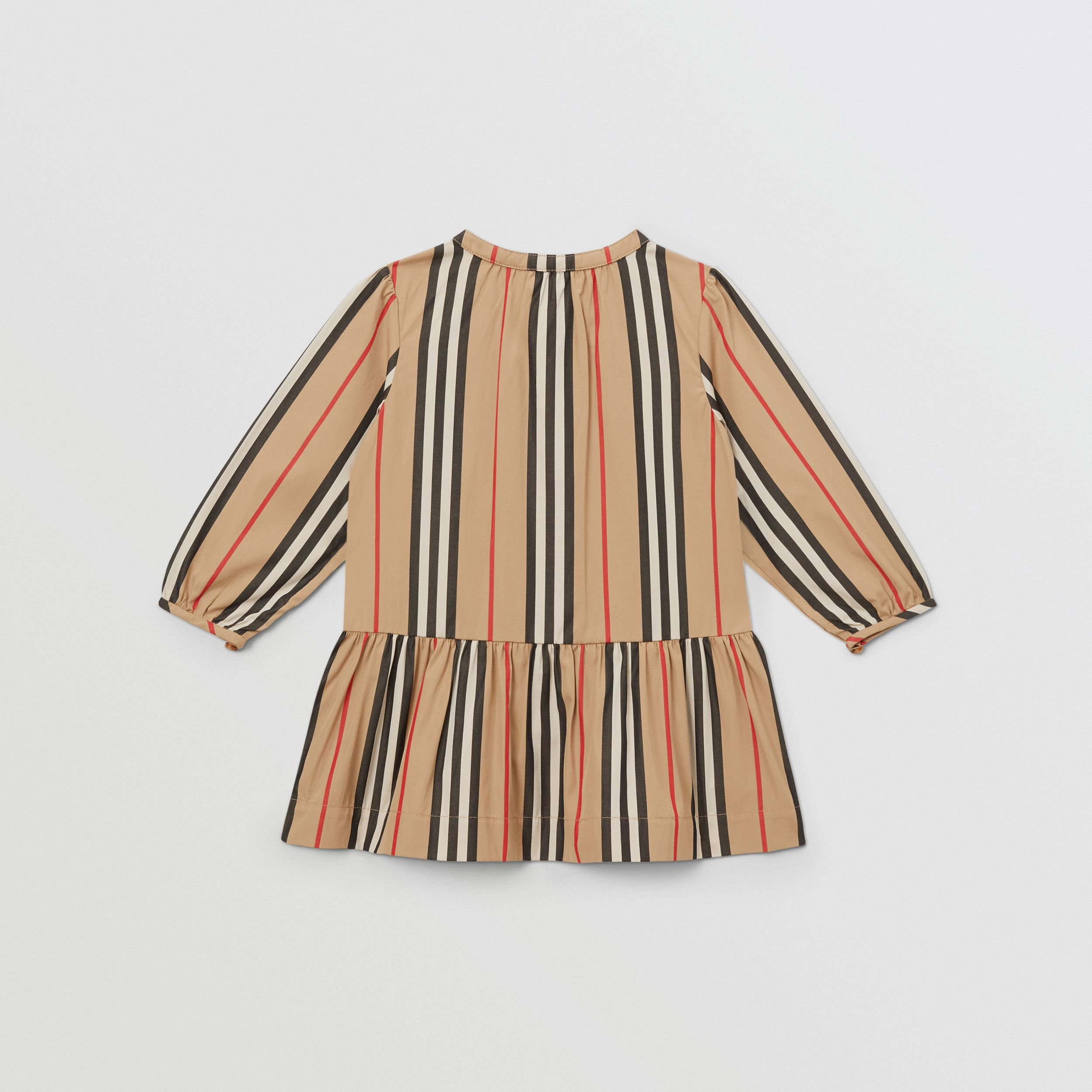 Icon Stripe Gathered Cotton Poplin Dress - Children | Burberry United Kingdom - 4
