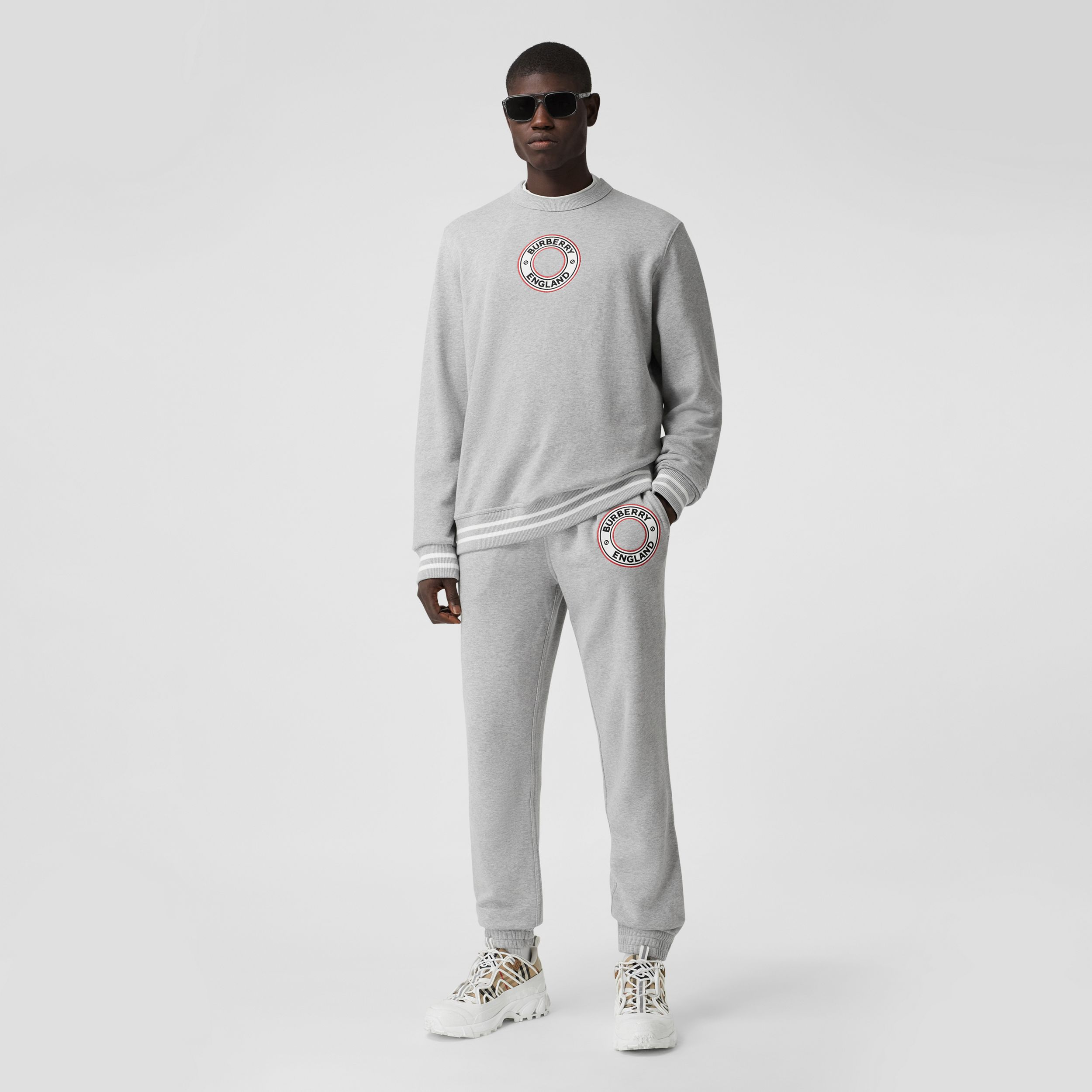 Logo Graphic Appliqué Cotton Jogging Pants in Pale Grey Melange - Men | Burberry - 1