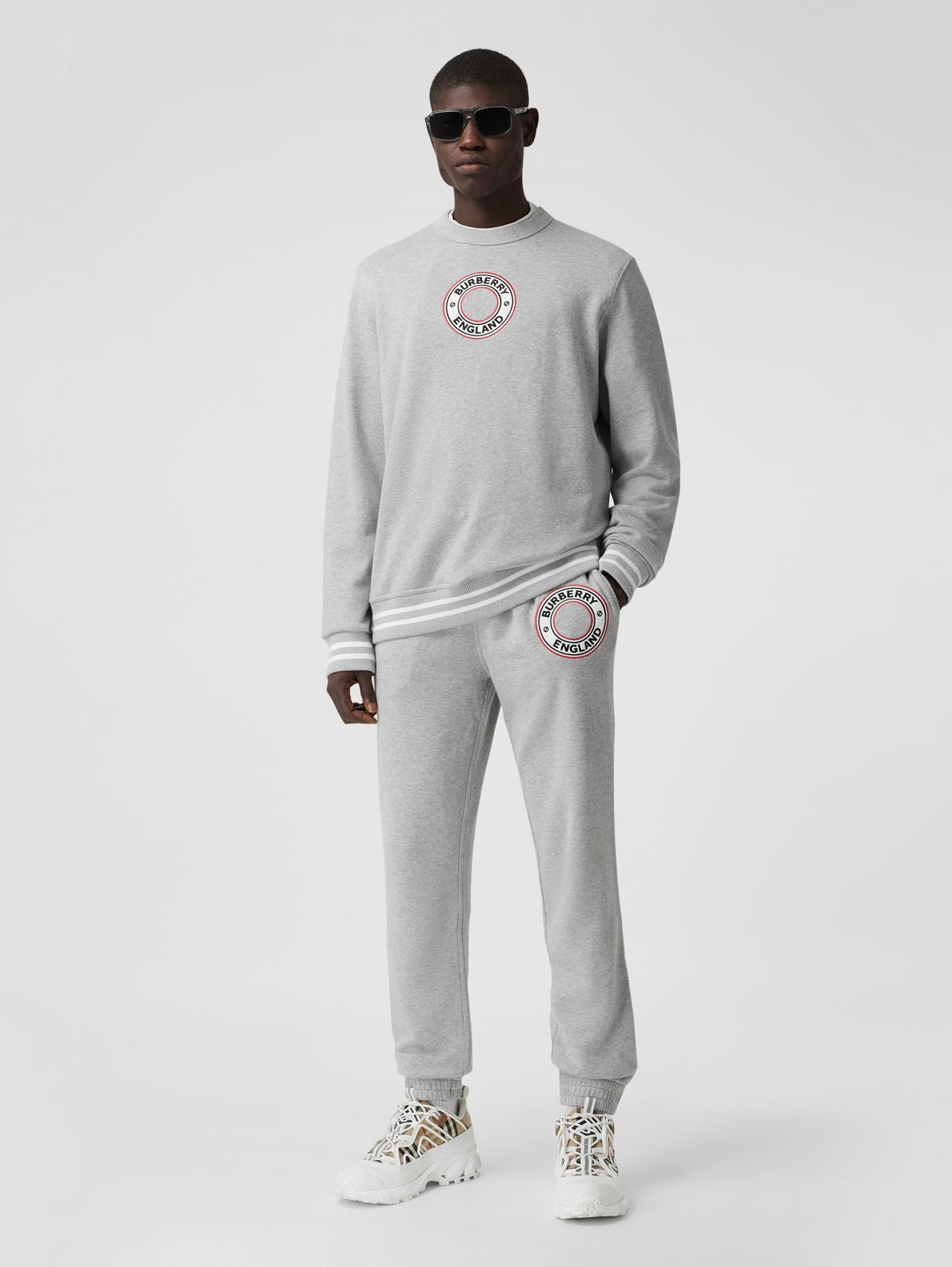 Logo Graphic Appliqué Cotton Jogging Pants in Pale Grey Melange