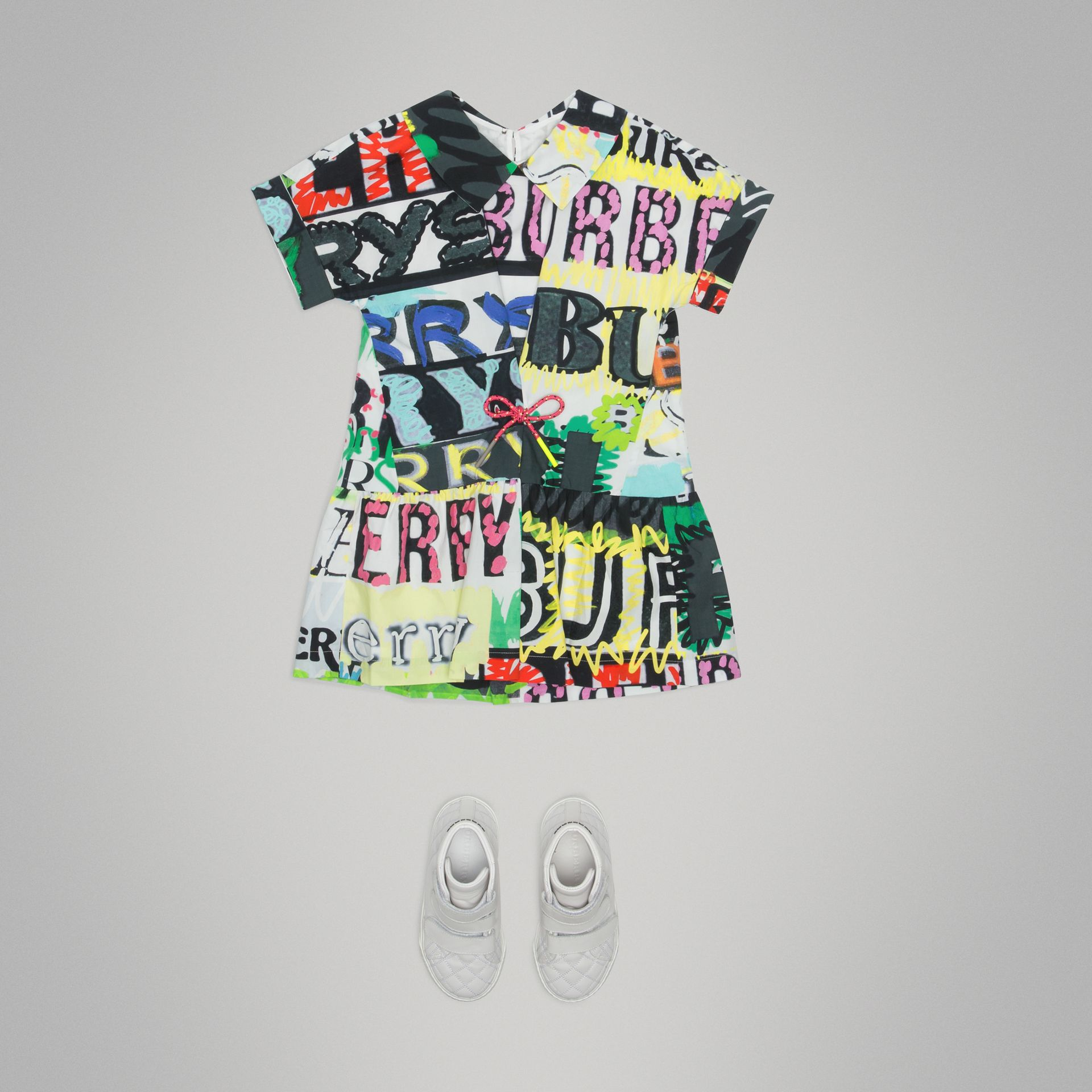 Graffiti Logo Print Cotton Drawcord Dress in Multicolour - Girl | Burberry - gallery image 2