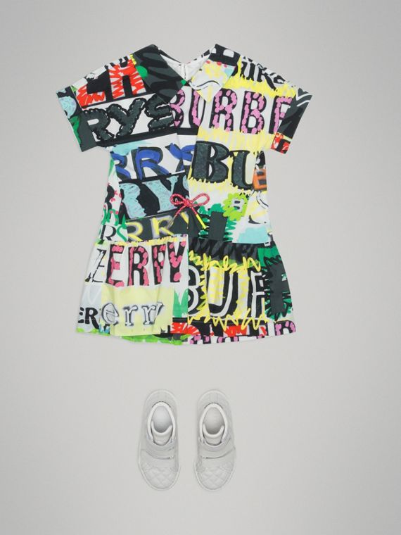 Graffiti Logo Print Cotton Drawcord Dress in Multicolour