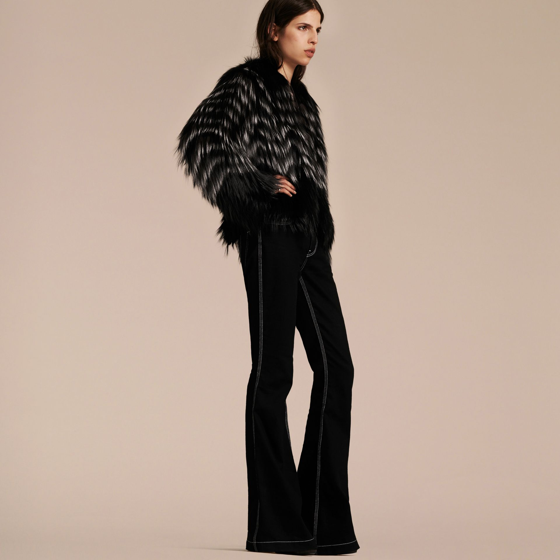Black/white Chevron Stripe Fox Fur Jacket - gallery image 7