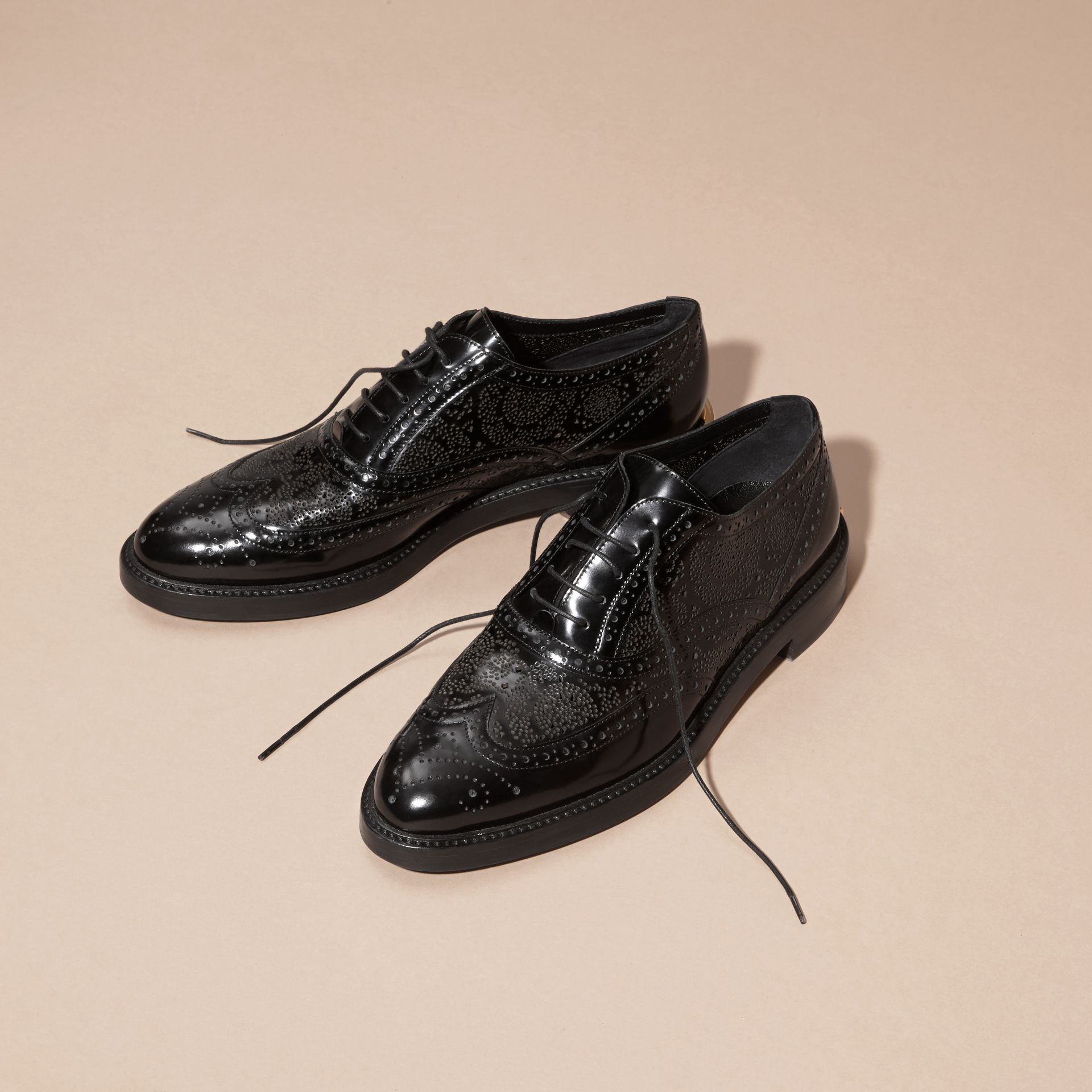 Black Leather Wingtip Brogues - gallery image 4