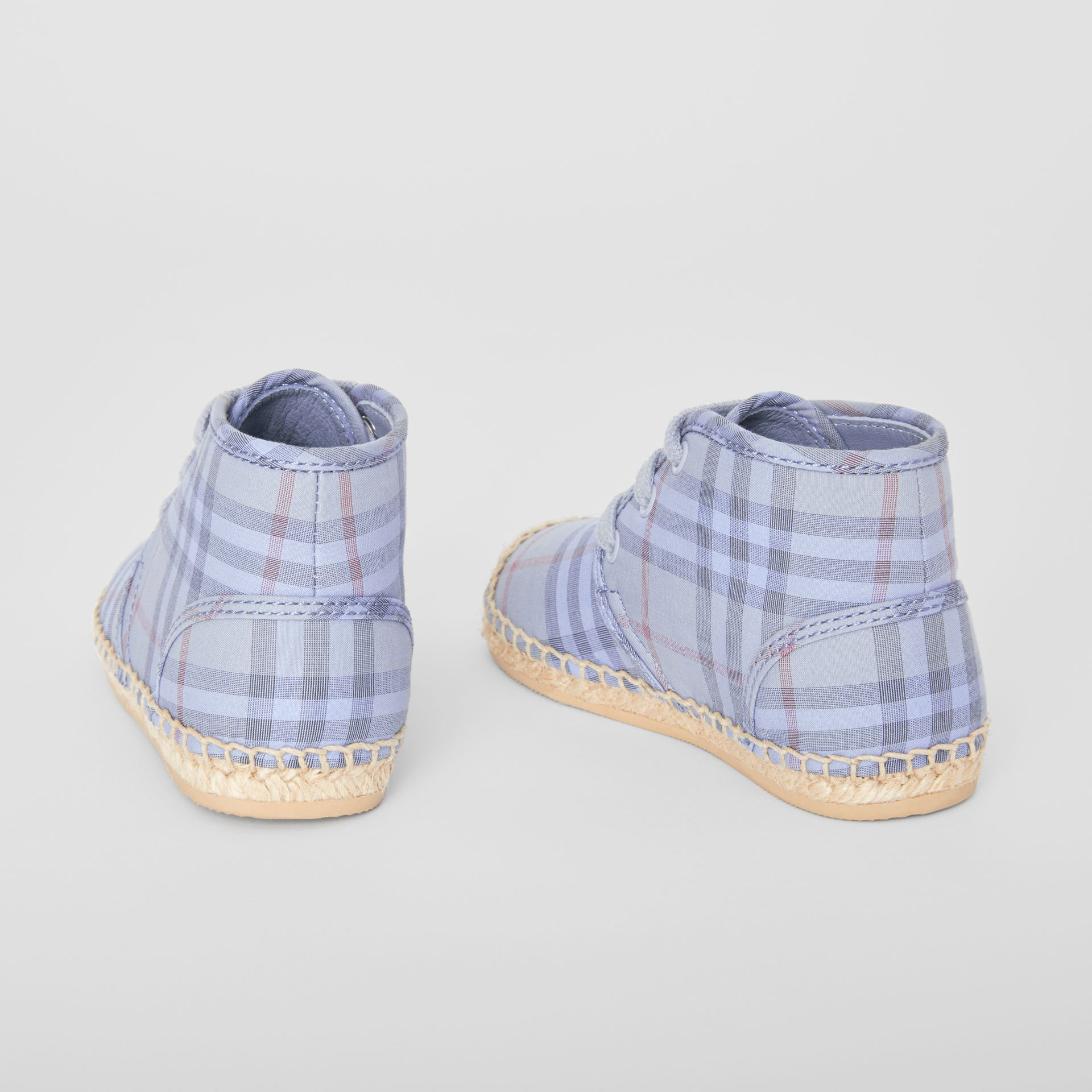 Check Espadrille Booties in Dusty Blue - Children | Burberry United Kingdom - gallery image 2