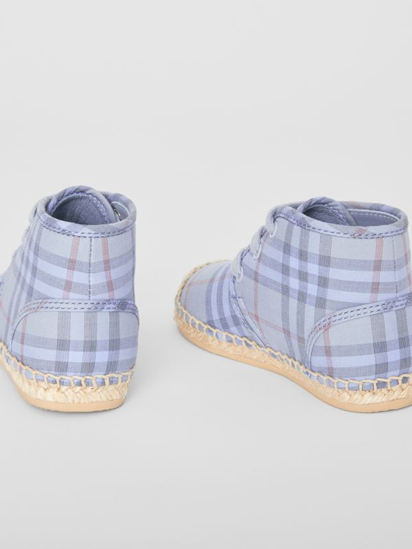Check Espadrille Booties in Dusty Blue - Children | Burberry United Kingdom - cell image 2