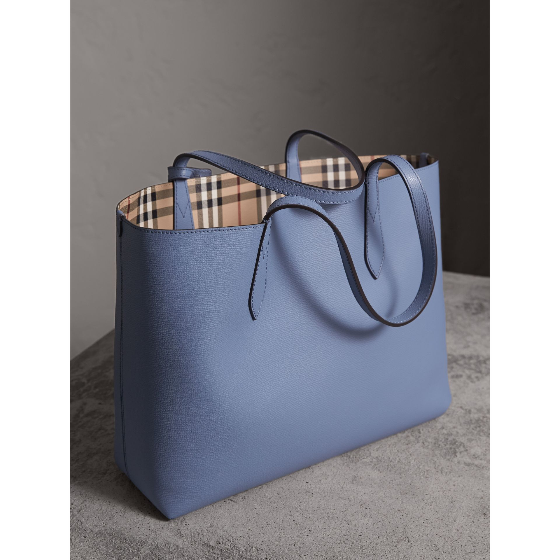 The Medium Reversible Tote in Haymarket Check and Leather in Slate Blue - Women | Burberry - gallery image 5