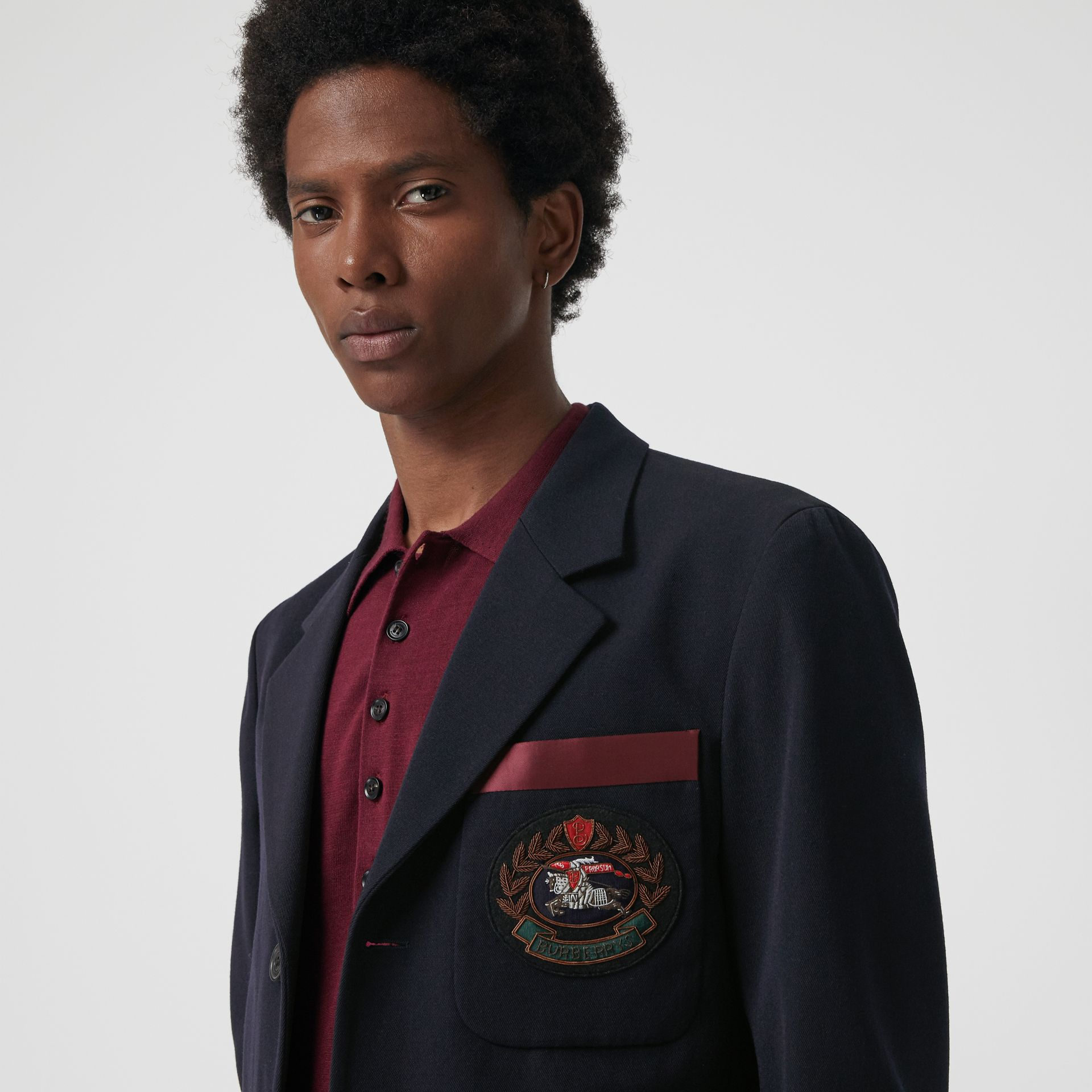 Crest Detail Wool Blend Club Blazer in Navy - Men | Burberry Singapore - gallery image 1
