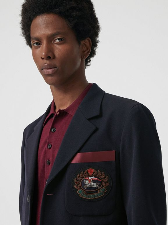 Crest Detail Wool Blend Club Blazer in Navy - Men | Burberry Singapore - cell image 1