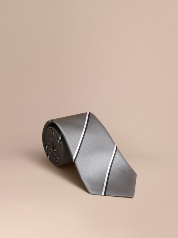 Classic Cut Striped Silk Jacquard Tie in Charcoal - Men | Burberry