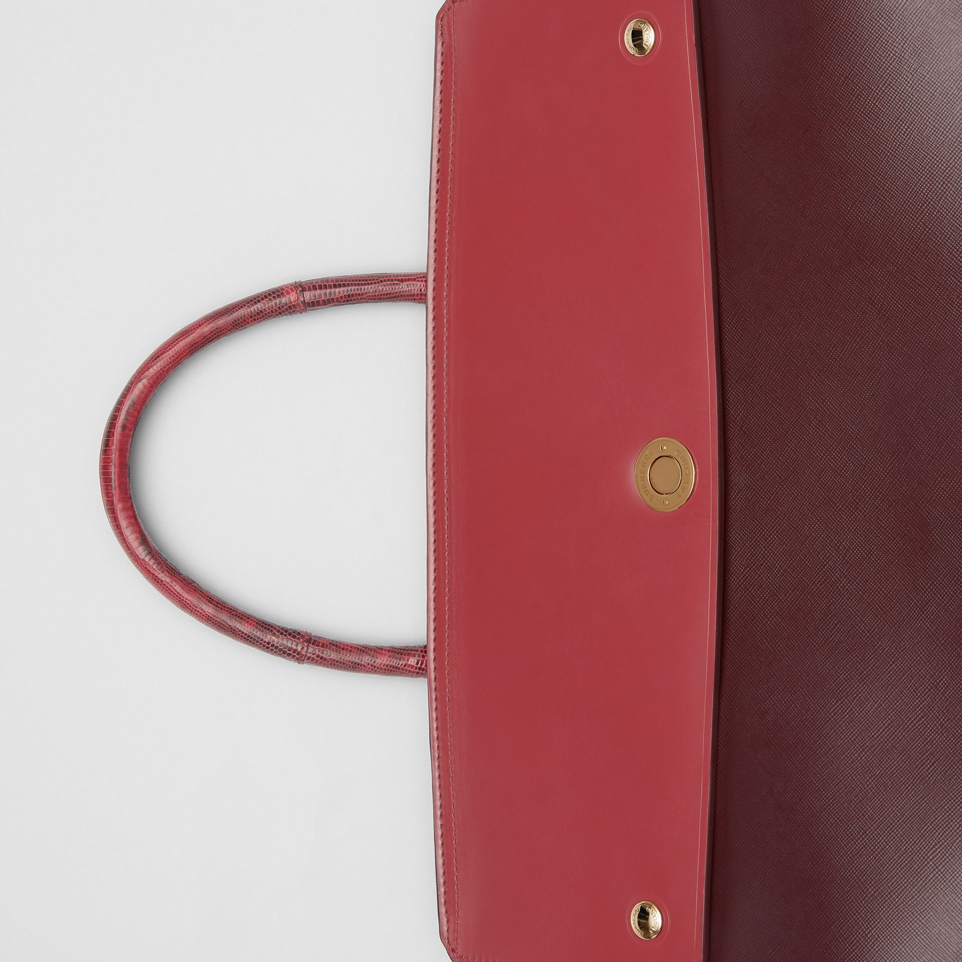 Medium Leather and Suede Elizabeth Bag in Crimson - Women | Burberry Australia - gallery image 1
