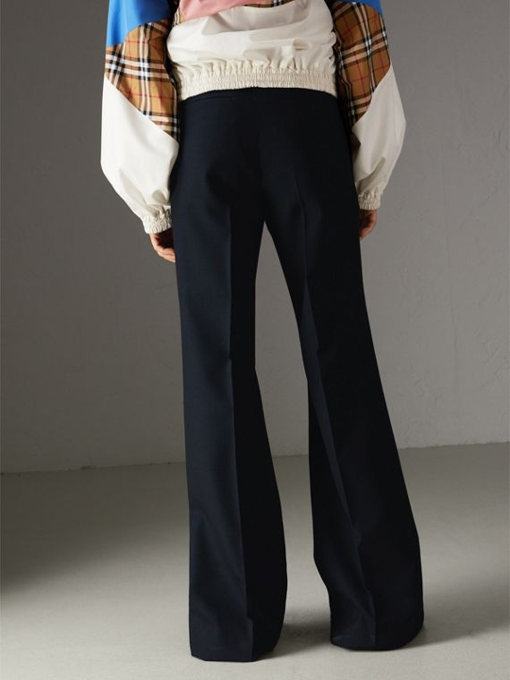 Wool Twill Flared Tailored Trousers in Dark Navy | Burberry Australia - cell image 2