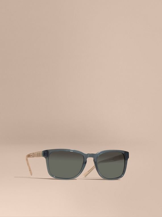 Check Detail Square Frame Sunglasses Blue Grey
