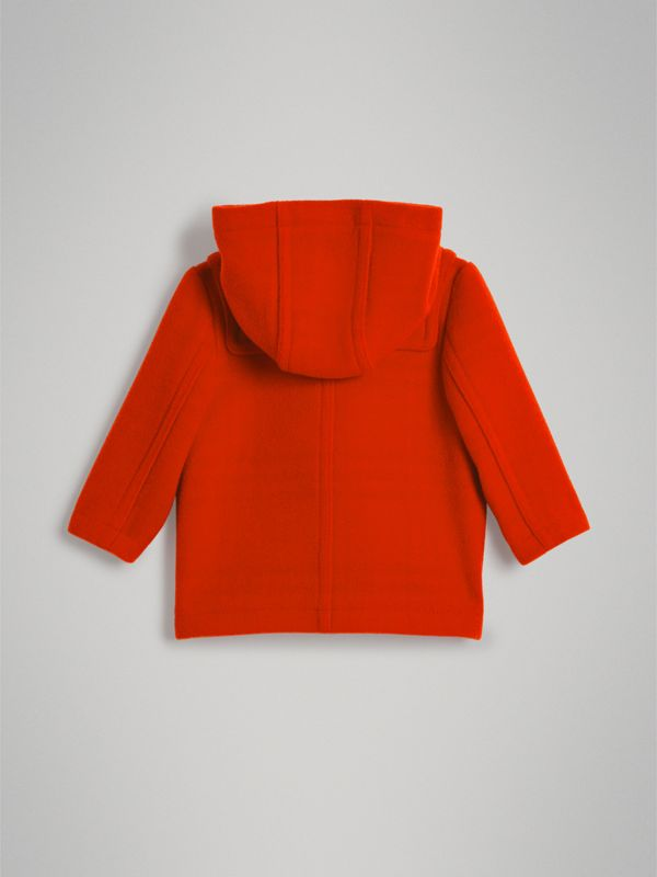 Boiled Wool Duffle Coat in Orange Red - Children | Burberry Australia - cell image 3