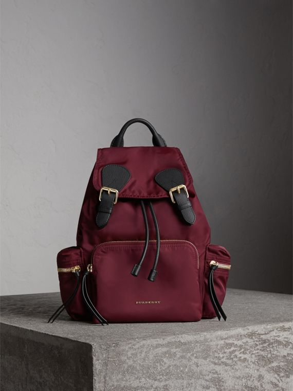 The Medium Rucksack in Technical Nylon and Leather in Burgundy Red - Women | Burberry