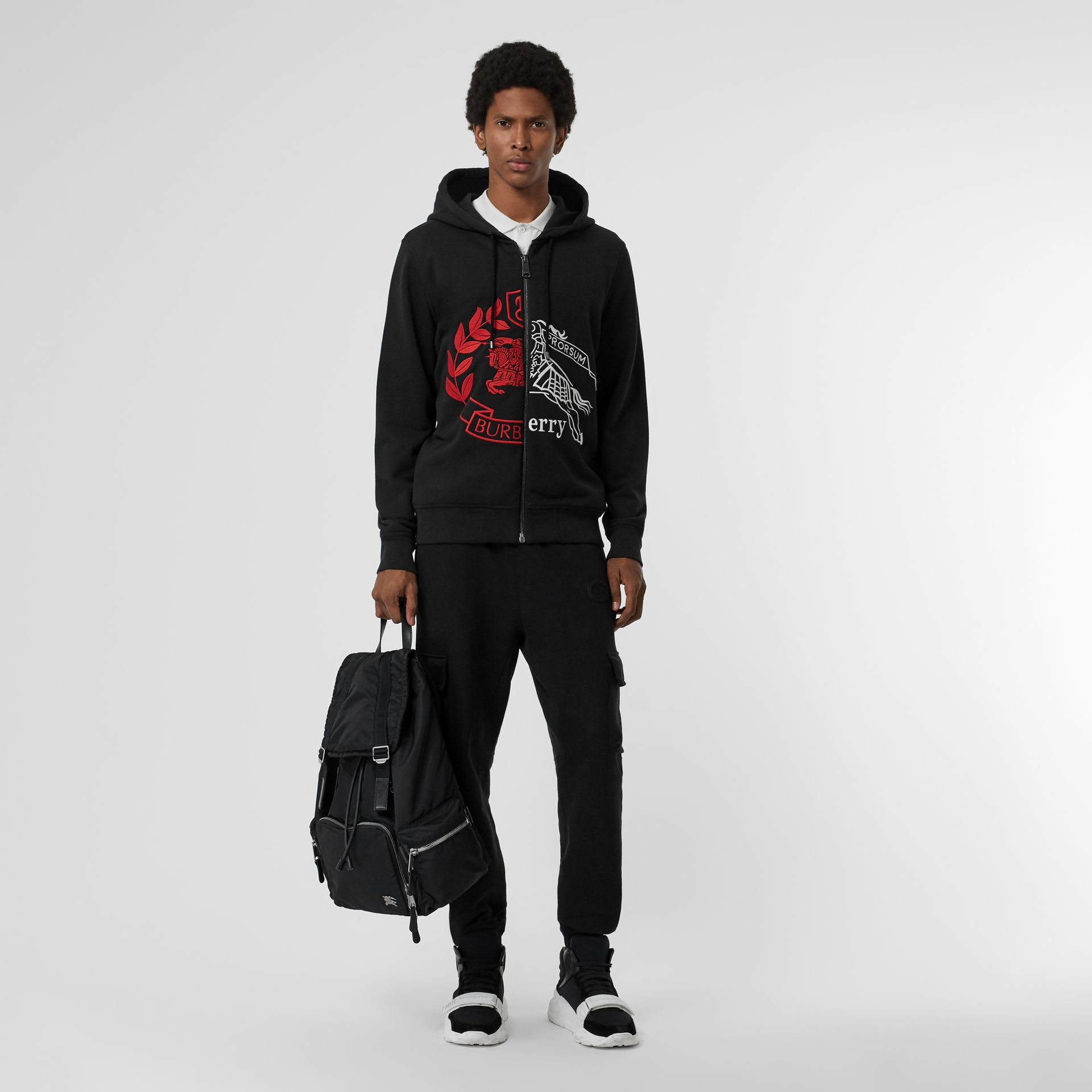 Contrast Crest Cotton Hooded Top in Black - Men | Burberry Singapore - gallery image 0
