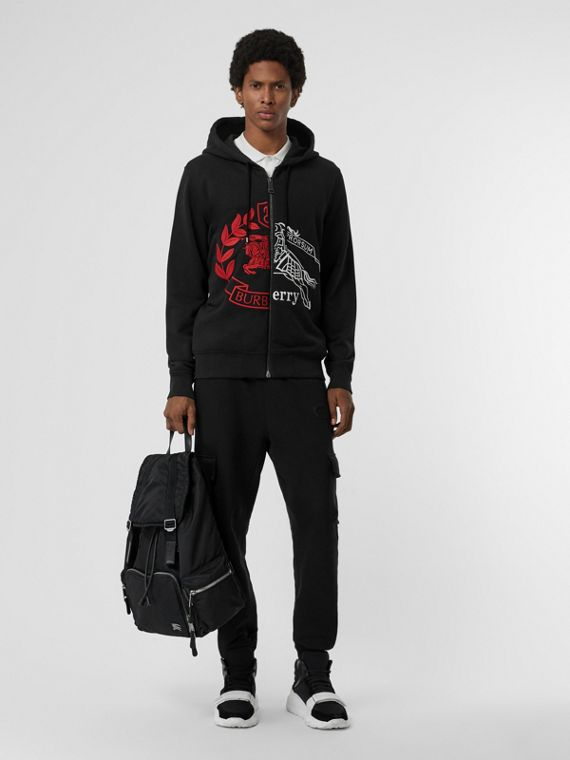 Contrast Crest Cotton Hooded Top in Black