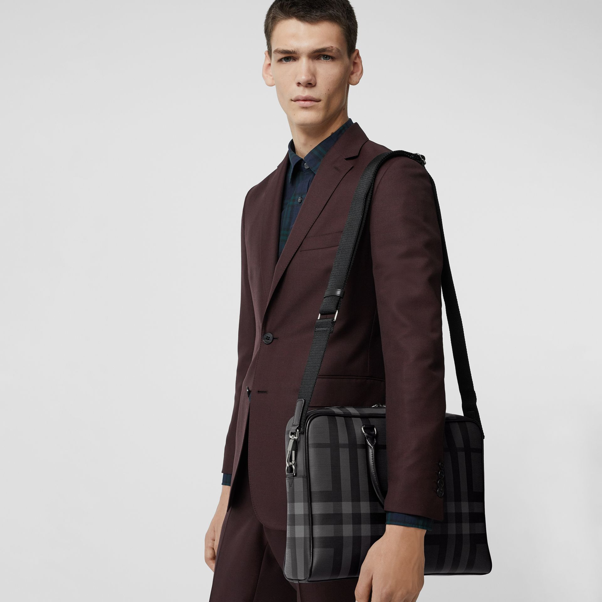 Large London Check Briefcase in Charcoal/black - Men | Burberry Australia - gallery image 3
