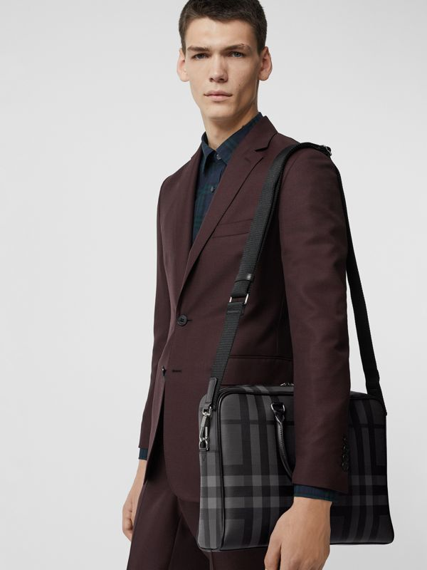 Large London Check Briefcase in Charcoal/black - Men | Burberry - cell image 3