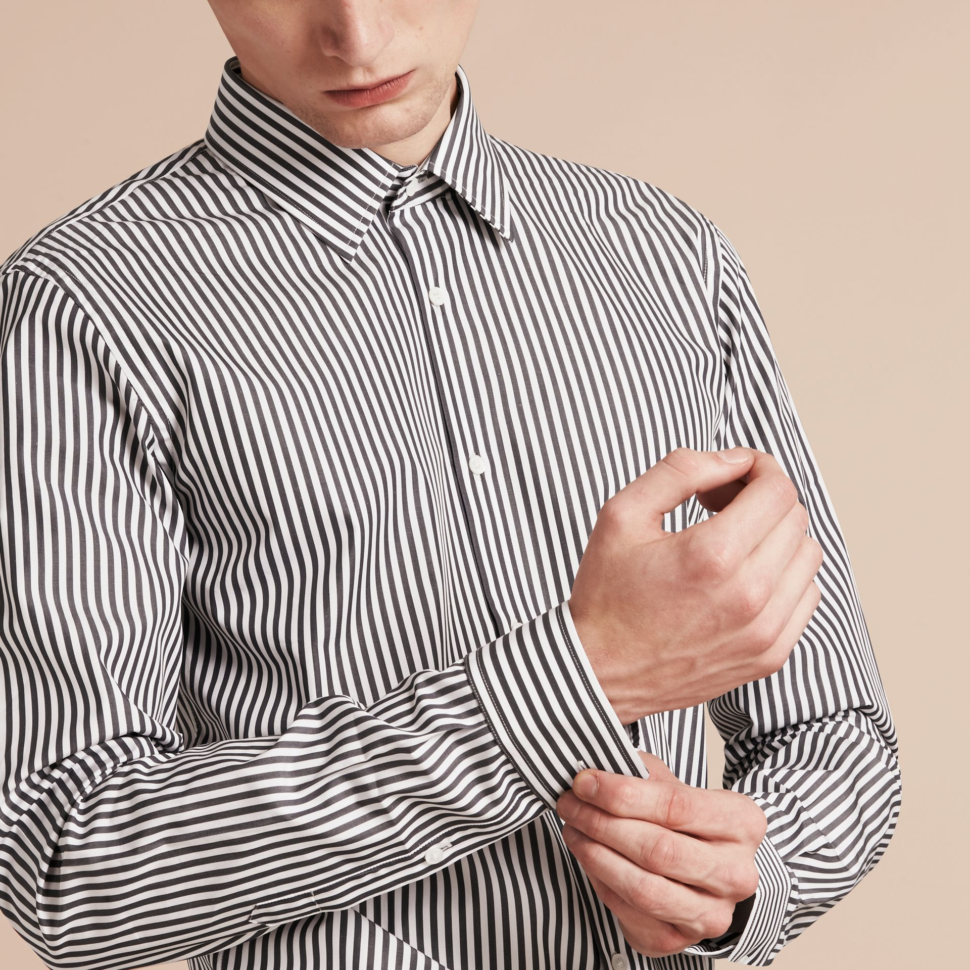 Charcoal Slim Fit Striped Cotton Poplin Shirt Charcoal - gallery image 5