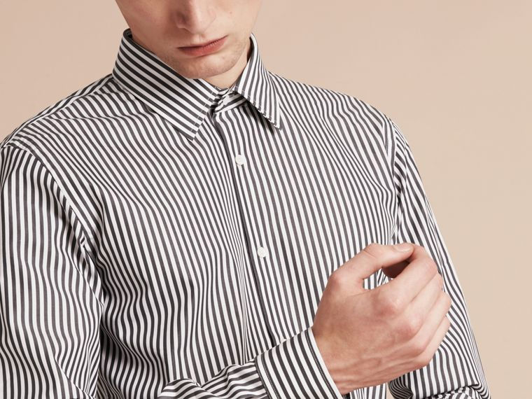 Charcoal Slim Fit Striped Cotton Poplin Shirt Charcoal - cell image 4