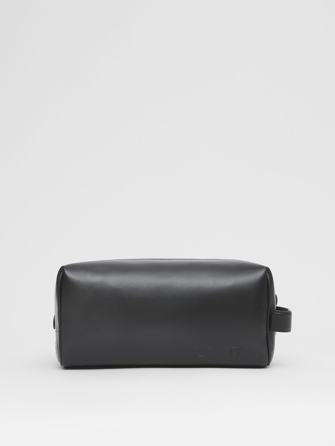 Horseferry Print Leather Travel Pouch in Black