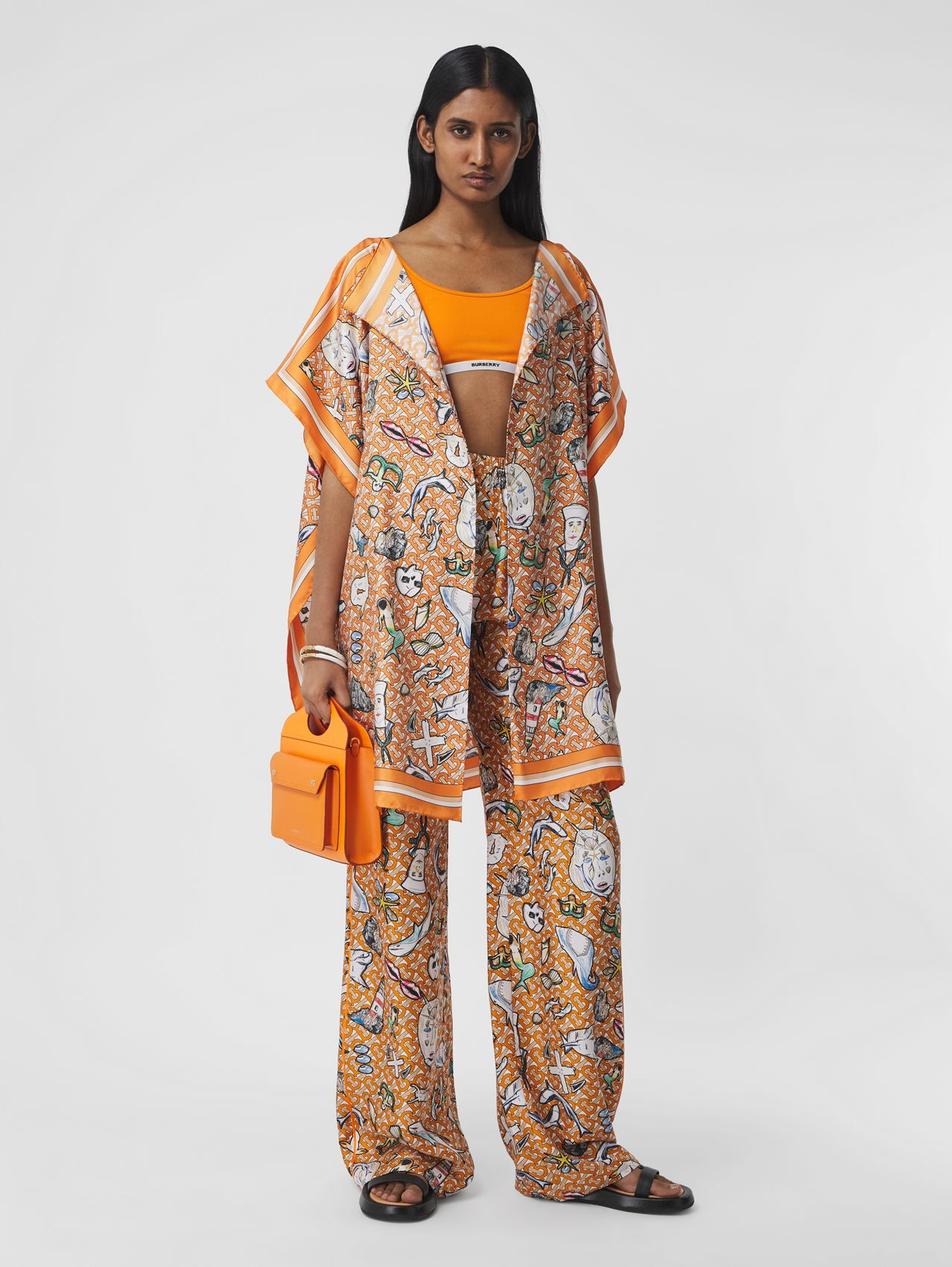 Monogram and Marine Print Silk Twill Cape in Deep Orange