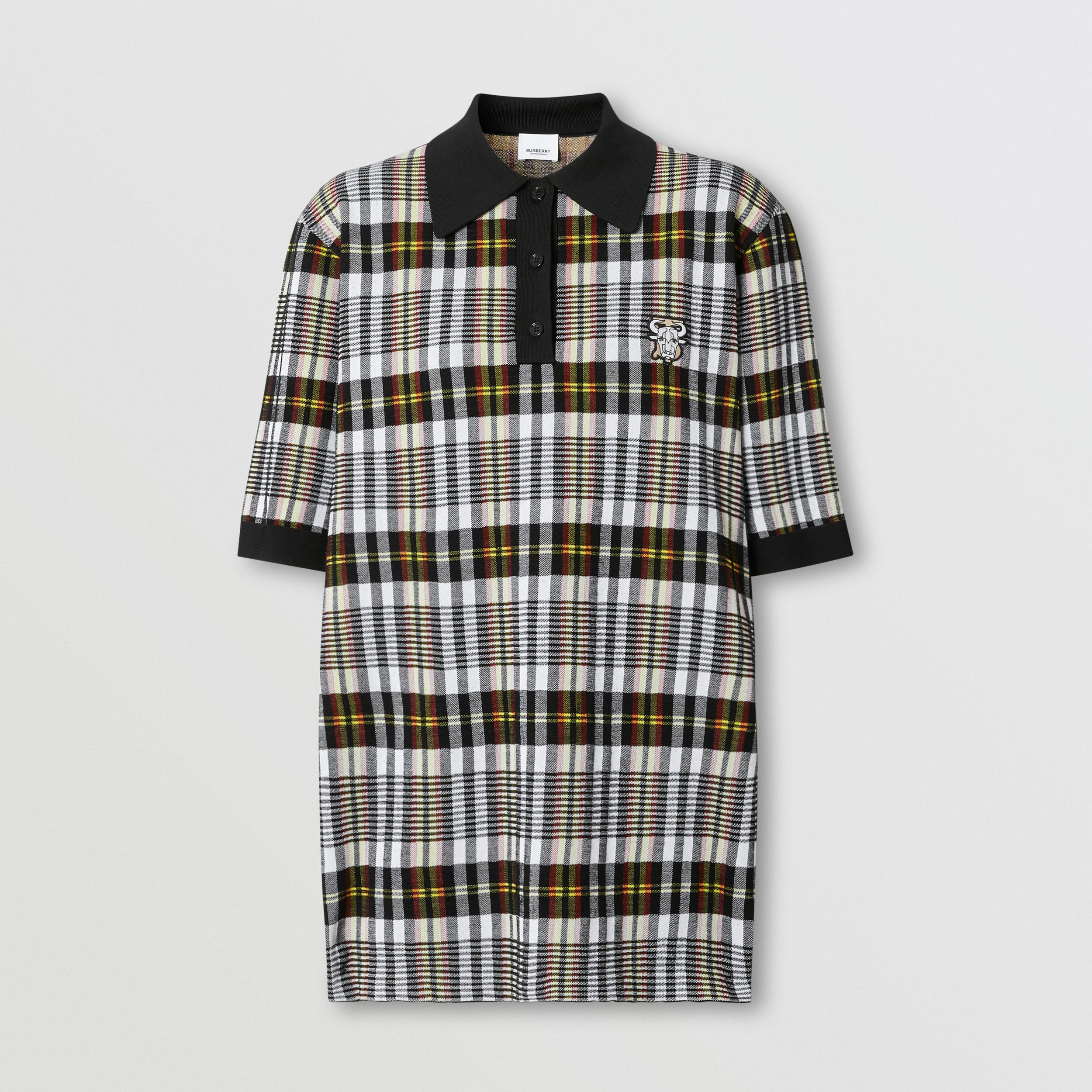 Monogram Motif Check Oversized Polo Shirt in Marigold Yellow - Women | Burberry - 4