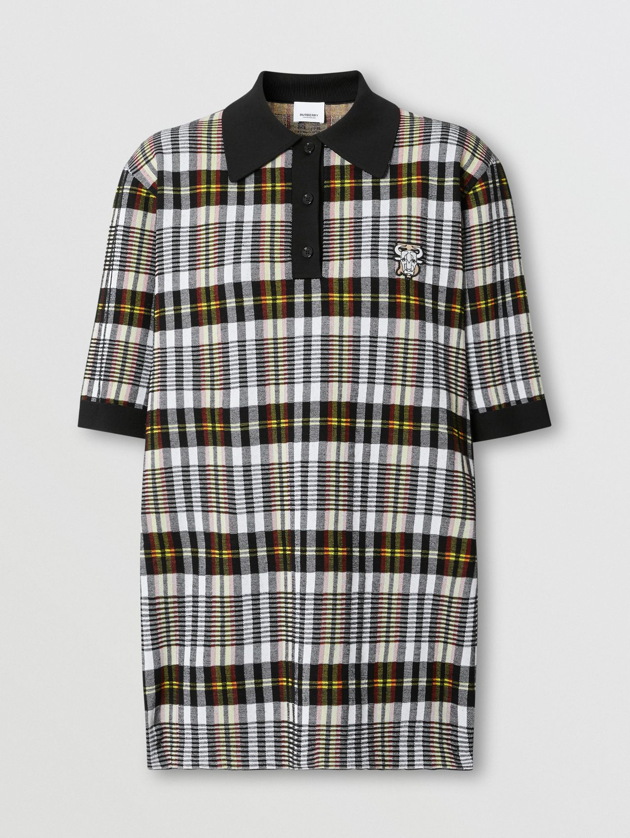Monogram Motif Check Oversized Polo Shirt in Marigold Yellow