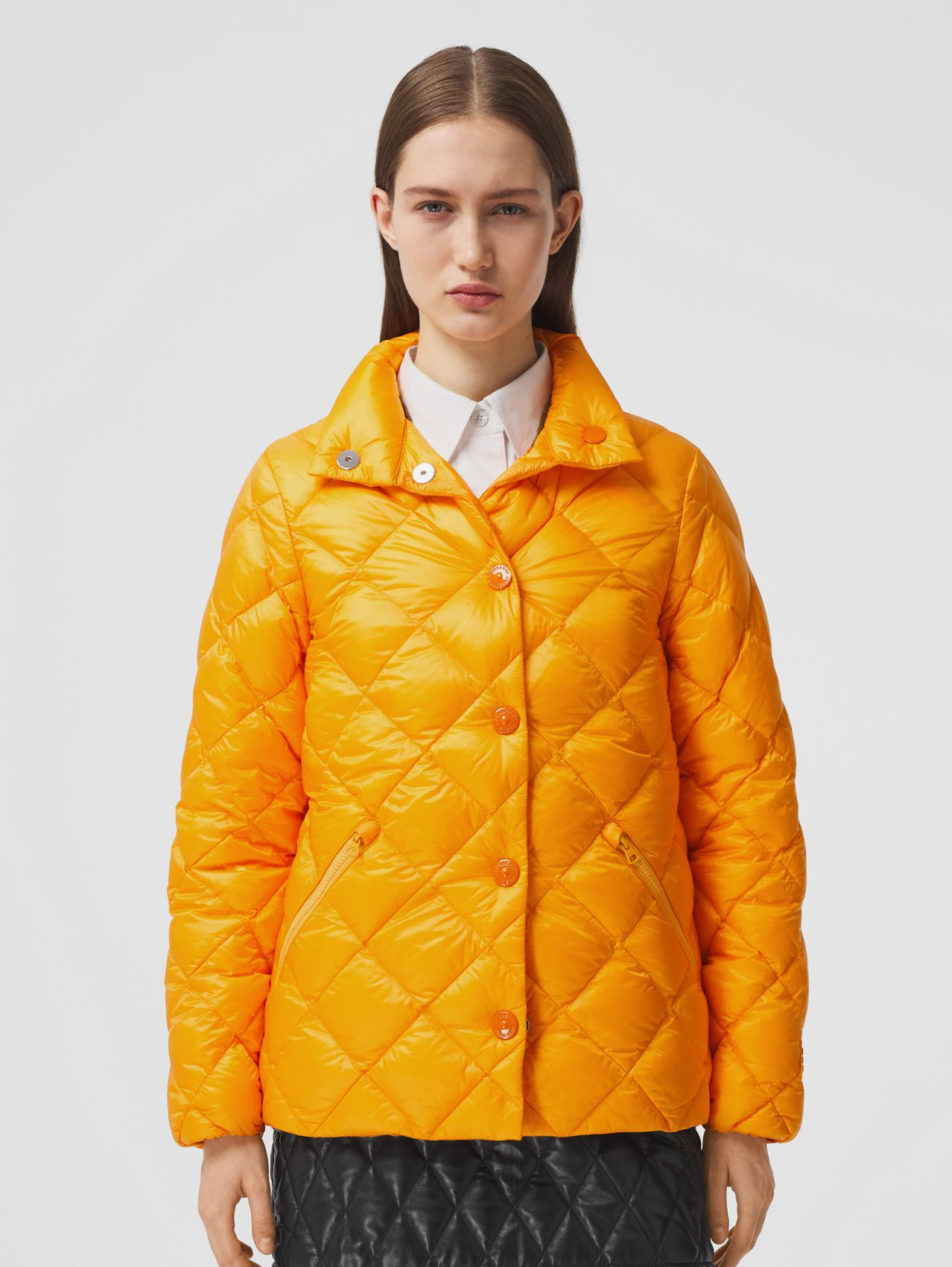 Diamond Quilted Down-filled Jacket in Citrus Orange