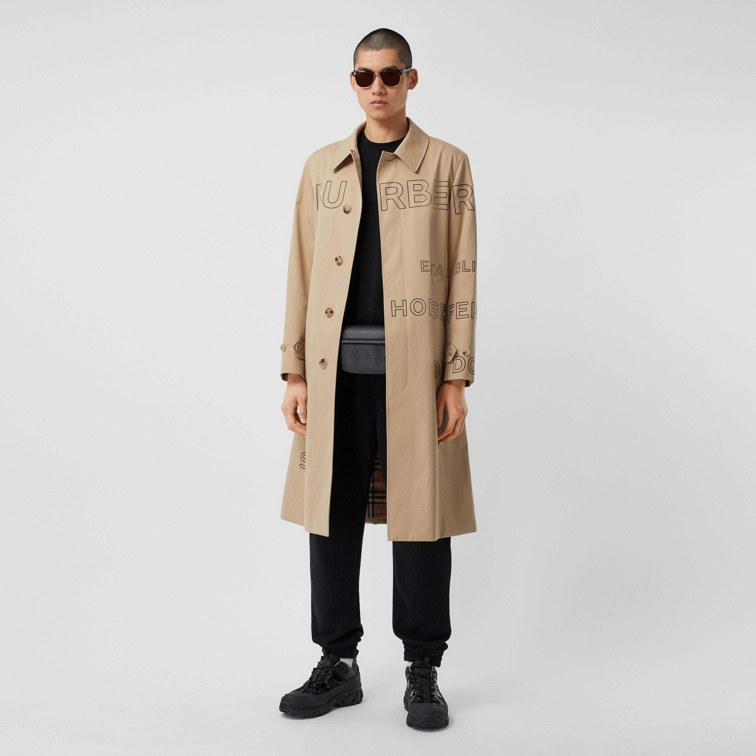 Horseferry Print Cotton Gabardine Car Coat in Honey - Men | Burberry - 1