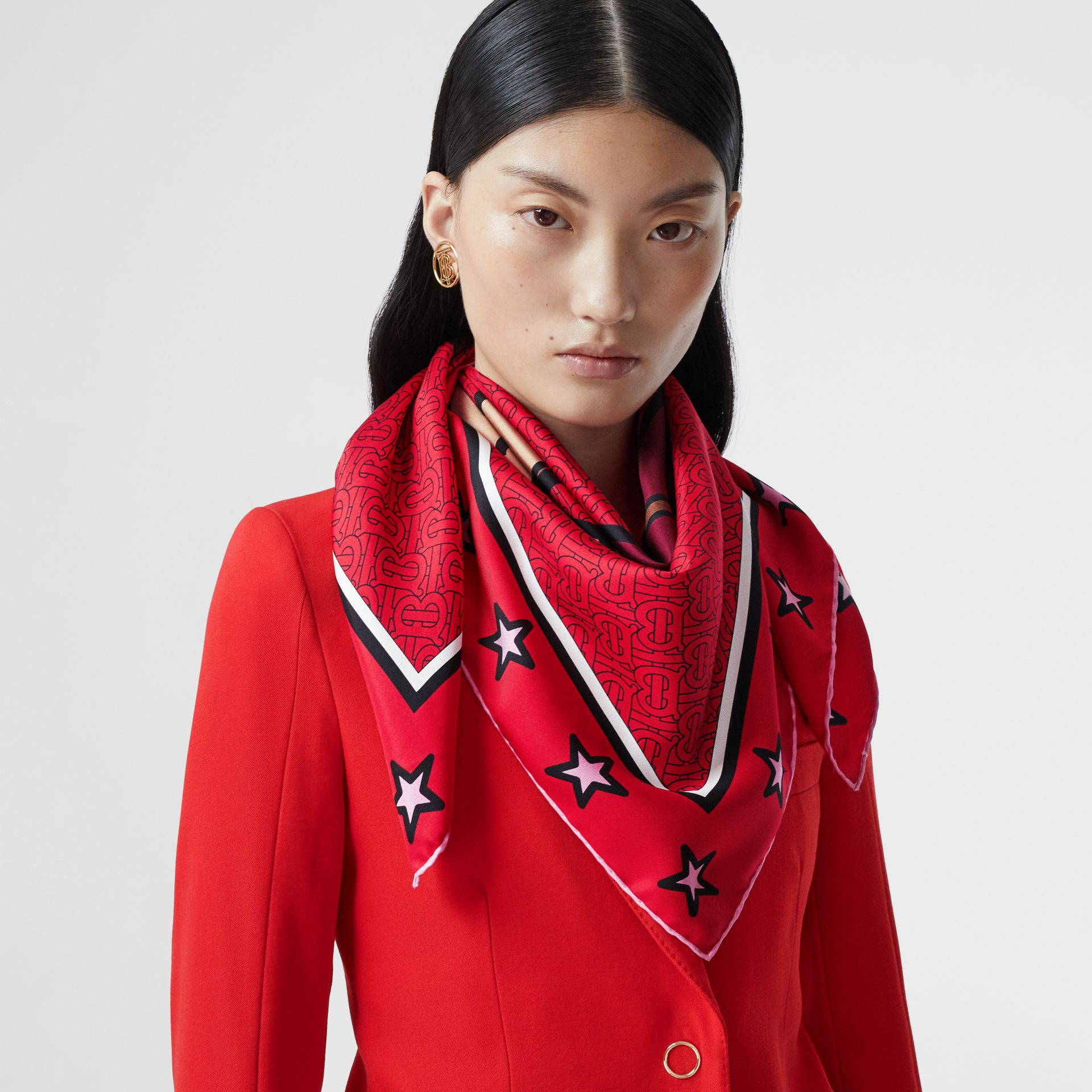 Monogram Motif Silk Square Scarf in Bright Red | Burberry - gallery image 2