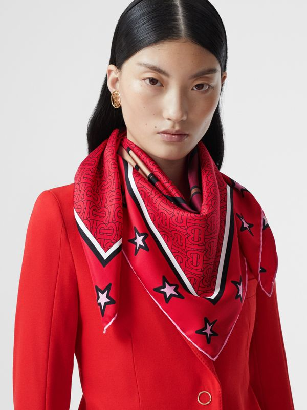 Monogram Motif Silk Square Scarf in Bright Red | Burberry - cell image 2