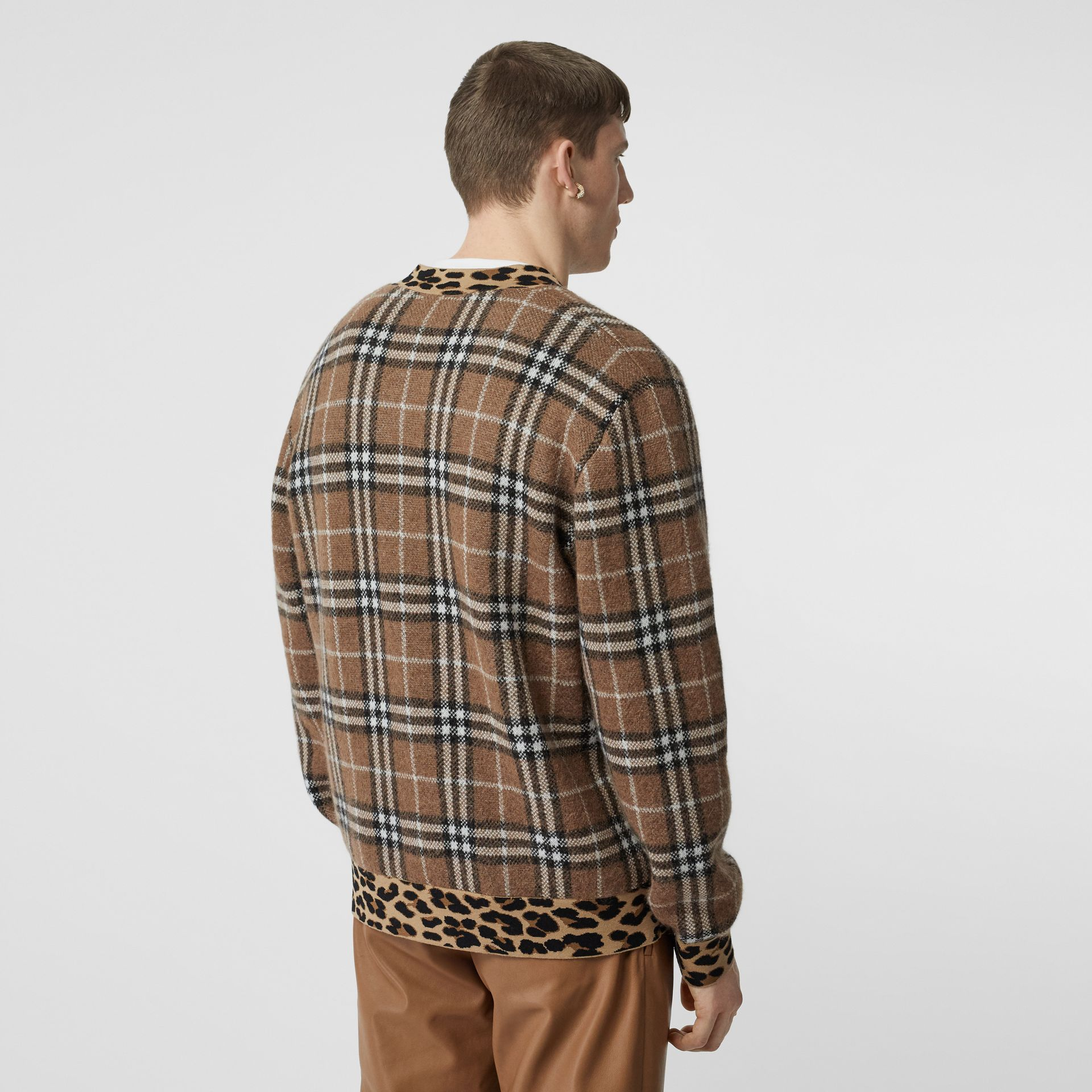 Leopard Detail Vintage Check Cashmere Blend Sweater in Warm Walnut - Men | Burberry - gallery image 1