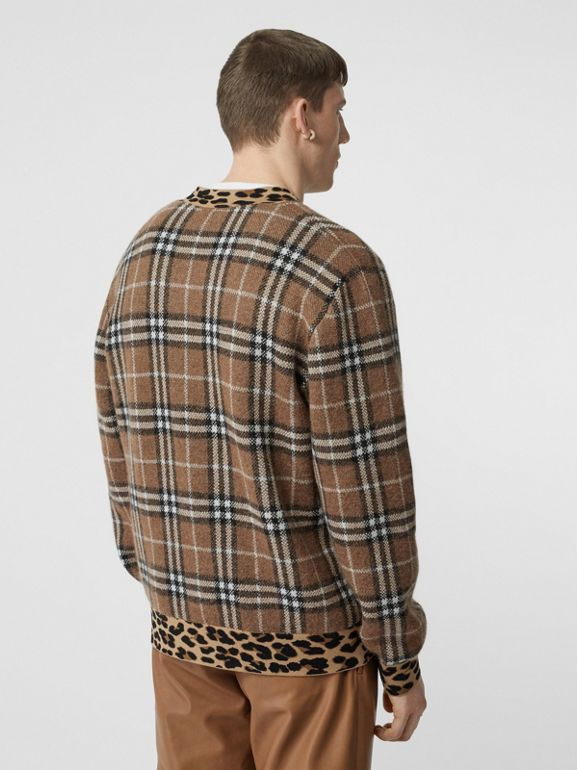 Leopard Detail Vintage Check Cashmere Blend Sweater in Warm Walnut - Men | Burberry - cell image 1