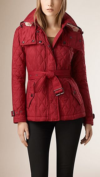 Diamond Quilted Jacket with Detachable Hood
