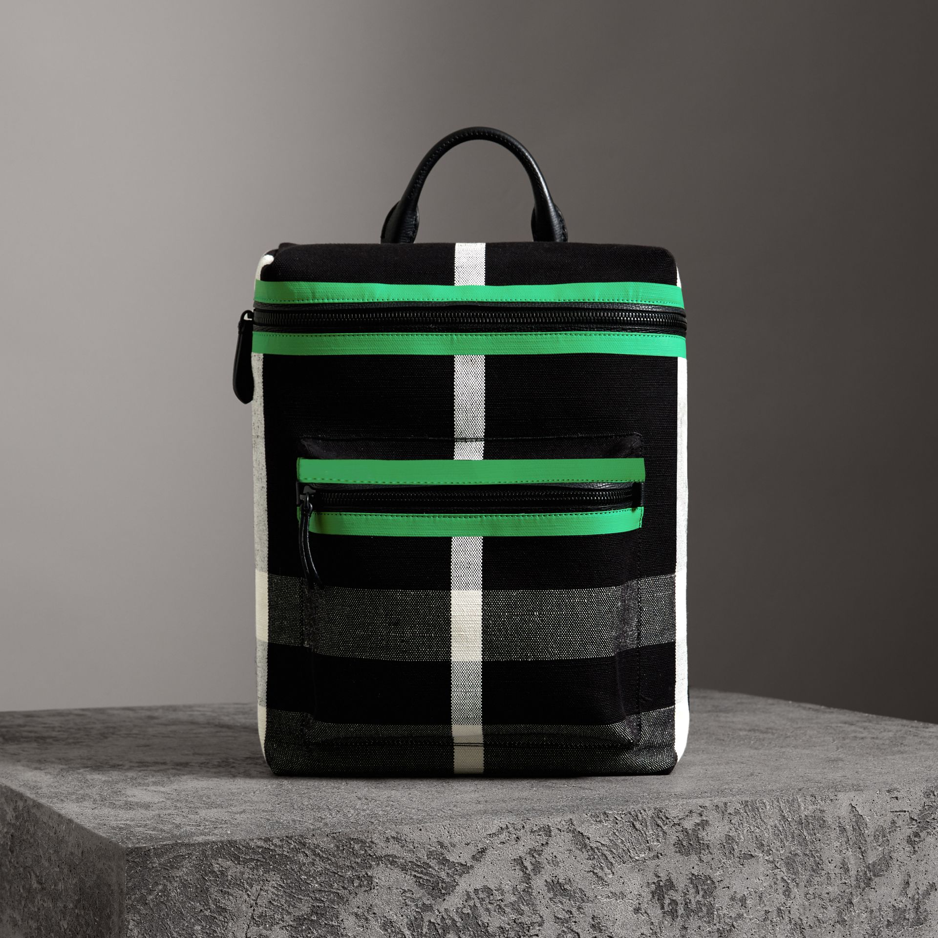 Zip-top Leather Trim Canvas Check Backpack in Racing Green/black - Men | Burberry Canada - gallery image 0