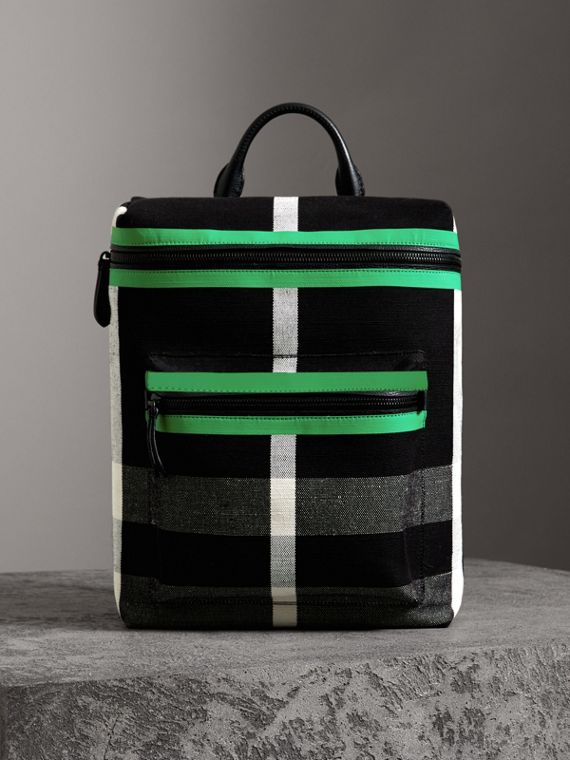 Zip-top Leather Trim Canvas Check Backpack in Racing Green/black