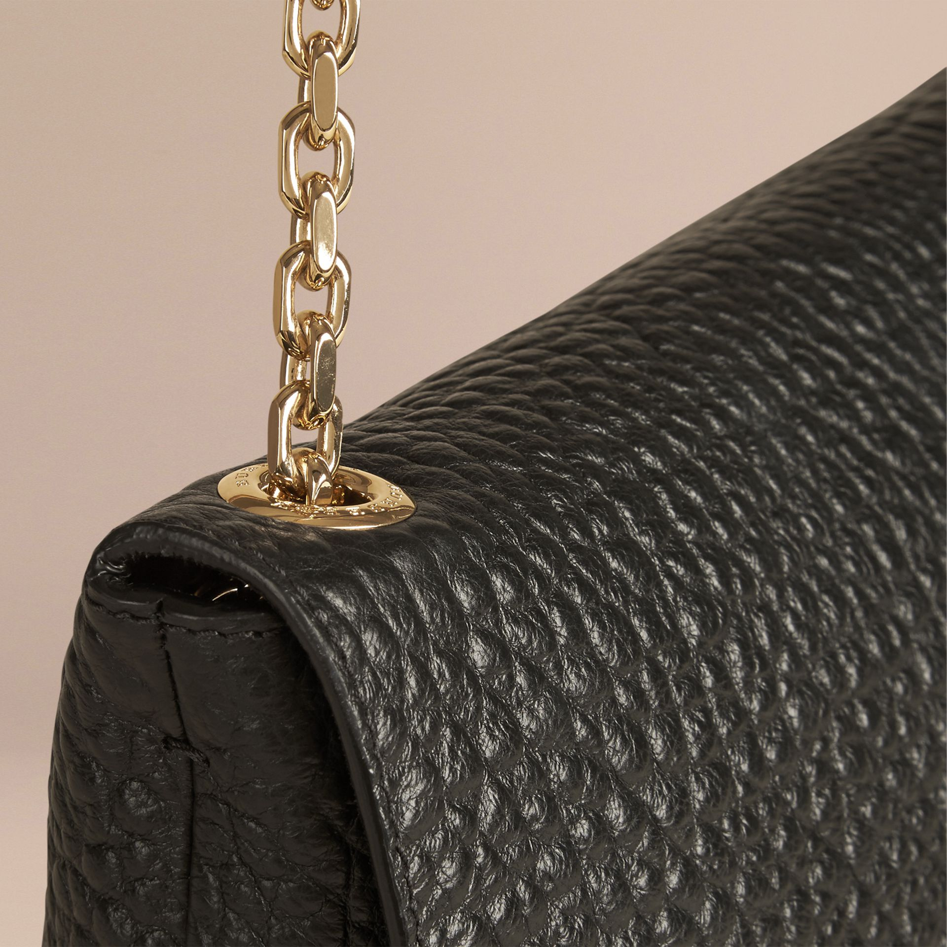 Black Large Signature Grain Leather Shoulder Bag Black - gallery image 6