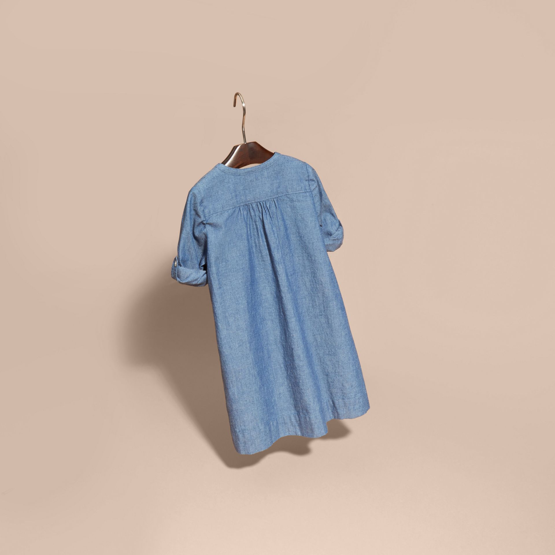 Pintuck Detail Cotton Chambray Dress - gallery image 4