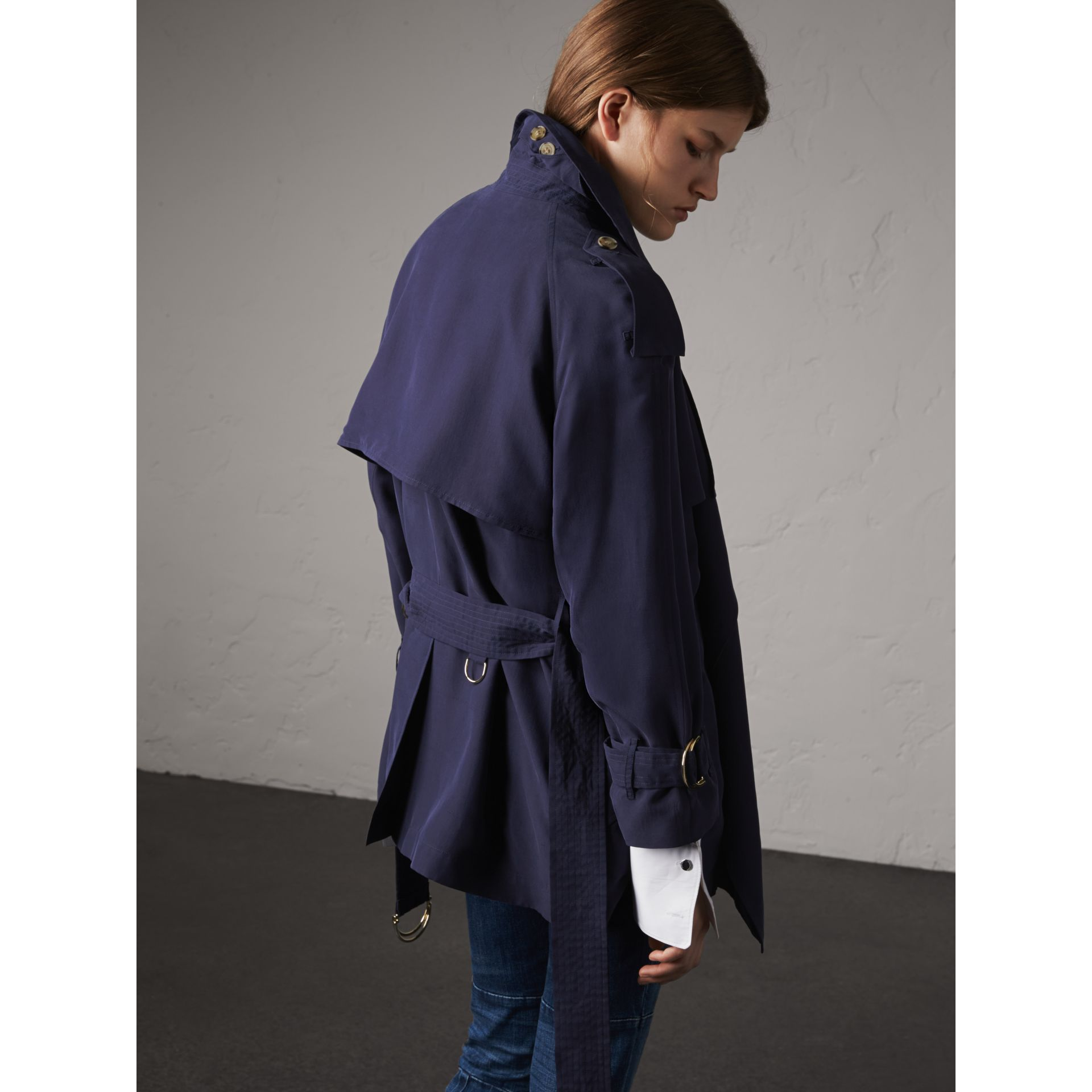 Silk Wrap Trench Coat in Navy - gallery image 3