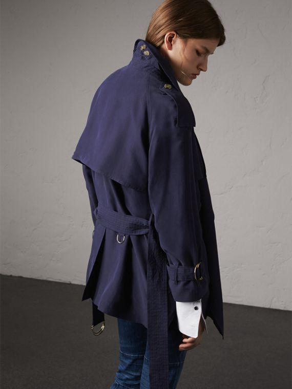 Silk Wrap Trench Coat in Navy - cell image 2