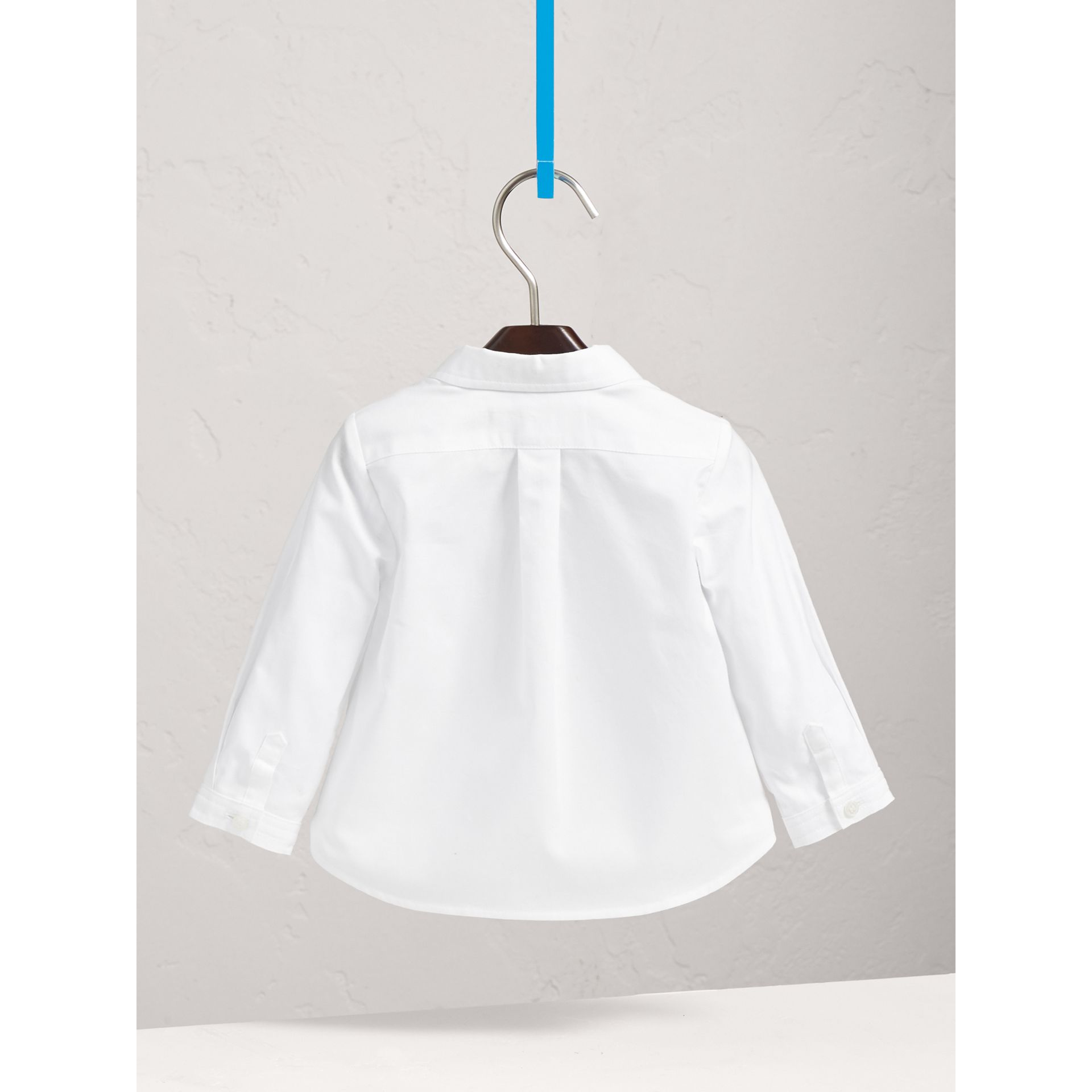 London Icons Cotton Oxford Shirt in White | Burberry - gallery image 4